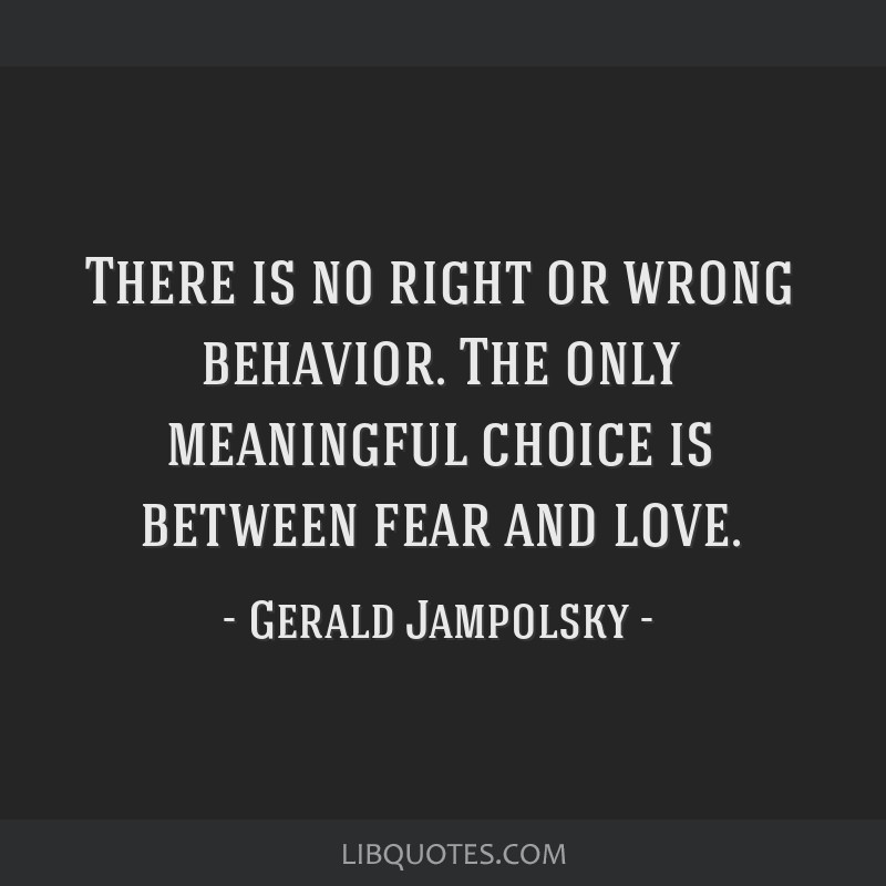 There is no right or wrong behavior. The only meaningful choice is between fear and love.