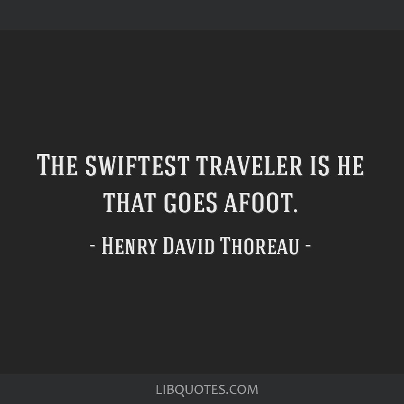 The swiftest traveler is he that goes afoot.