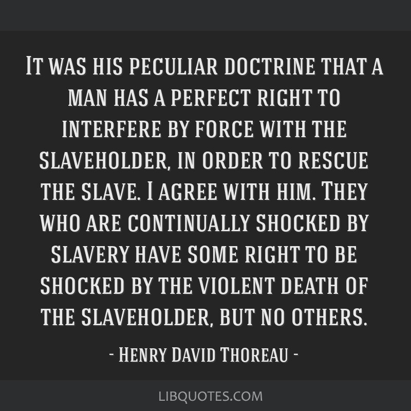 It was his peculiar doctrine that a man has a perfect right to interfere by force with the slaveholder, in order to rescue the slave. I agree with...