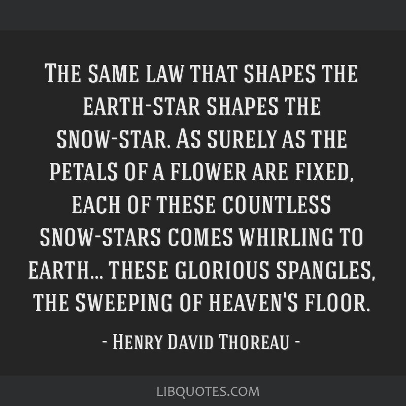 The same law that shapes the earth-star shapes the snow-star. As surely as the petals of a flower are fixed, each of these countless snow-stars comes ...