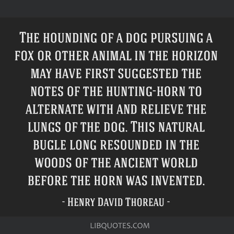 The hounding of a dog pursuing a fox or other animal in the horizon may have first suggested the notes of the hunting-horn to alternate with and...
