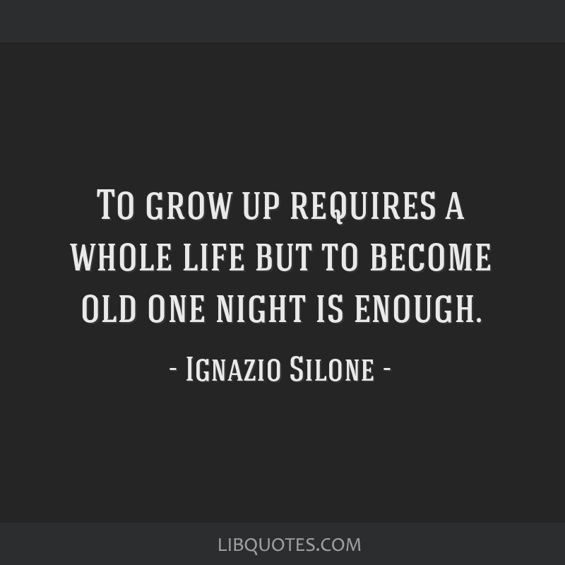 To grow up requires a whole life but to become old one night is enough.