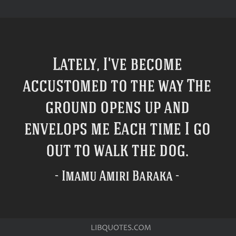 Lately, I've become accustomed to the way The ground opens up and envelops me Each time I go out to walk the dog.