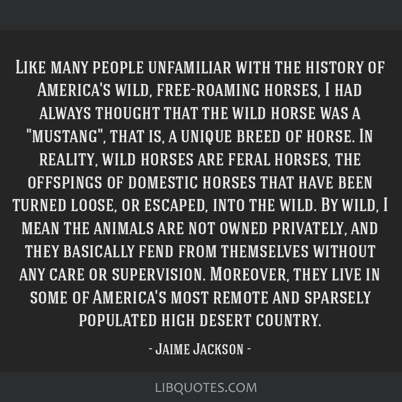 Like many people unfamiliar with the history of America's wild, free-roaming horses, I had always thought that the wild horse was a mustang, that is, ...