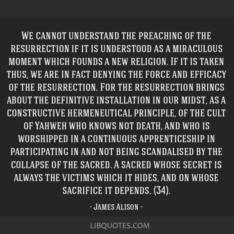 We cannot understand the preaching of the resurrection if it is understood as a miraculous moment which founds a new religion. If it is taken thus,...