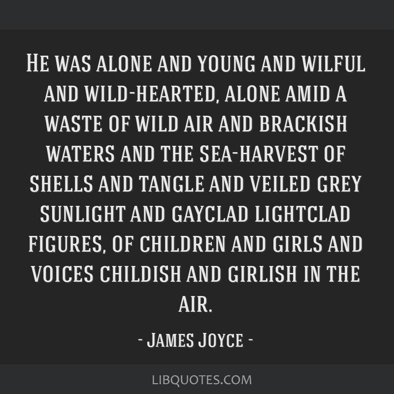 He was alone and young and wilful and wild-hearted, alone amid a waste of wild air and brackish waters and the sea-harvest of shells and tangle and...