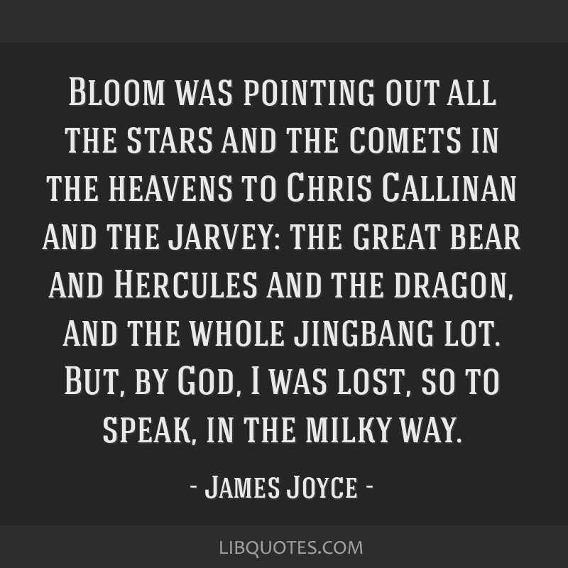 Bloom was pointing out all the stars and the comets in the heavens to Chris Callinan and the jarvey: the great bear and Hercules and the dragon, and...