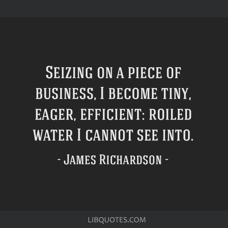 Seizing on a piece of business, I become tiny, eager, efficient: roiled water I cannot see into.