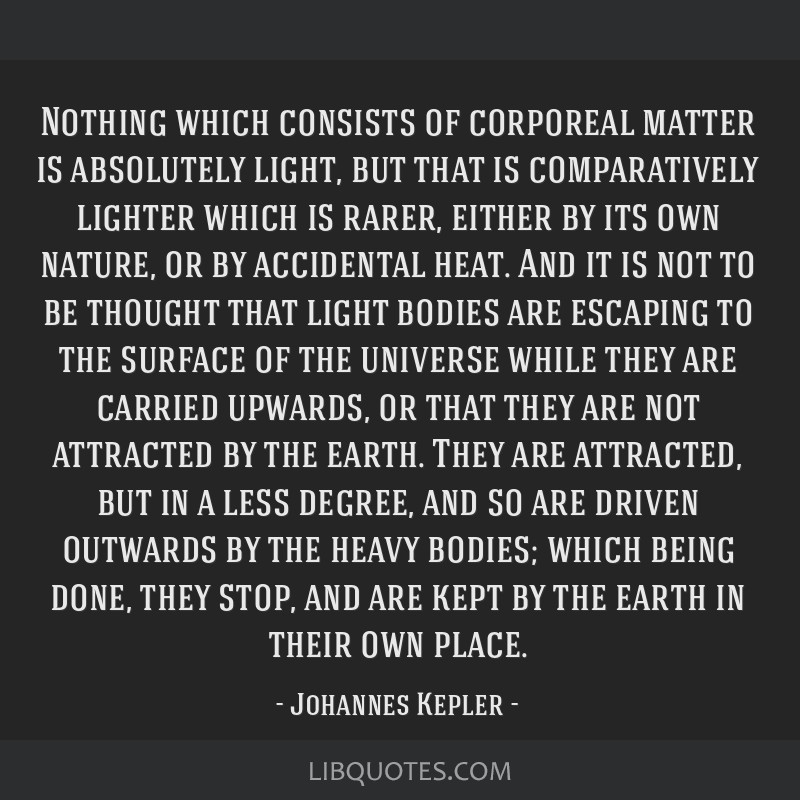 Nothing which consists of corporeal matter is absolutely light, but that is comparatively lighter which is rarer, either by its own nature, or by...