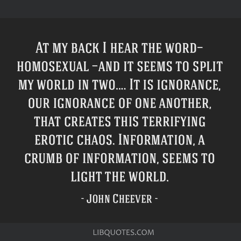 At my back I hear the word— homosexual —and it seems to split my world in two.... It is ignorance, our ignorance of one another, that creates...