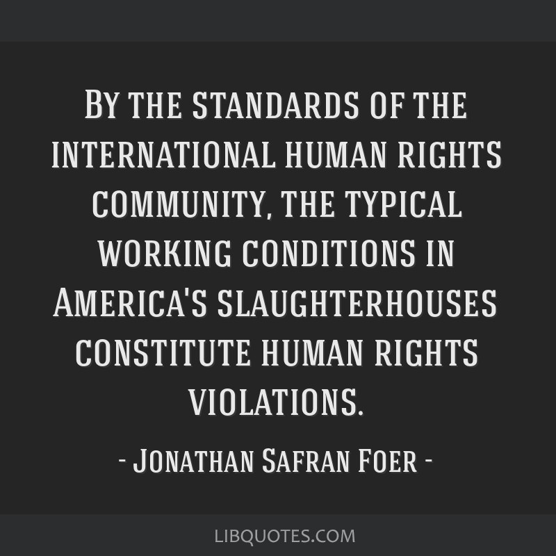 By the standards of the international human rights community, the typical working conditions in America's slaughterhouses constitute human rights...