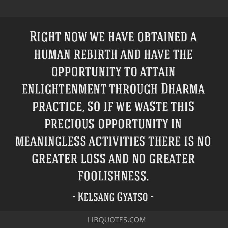 Right now we have obtained a human rebirth and have the opportunity to attain enlightenment through Dharma practice, so if we waste this precious...