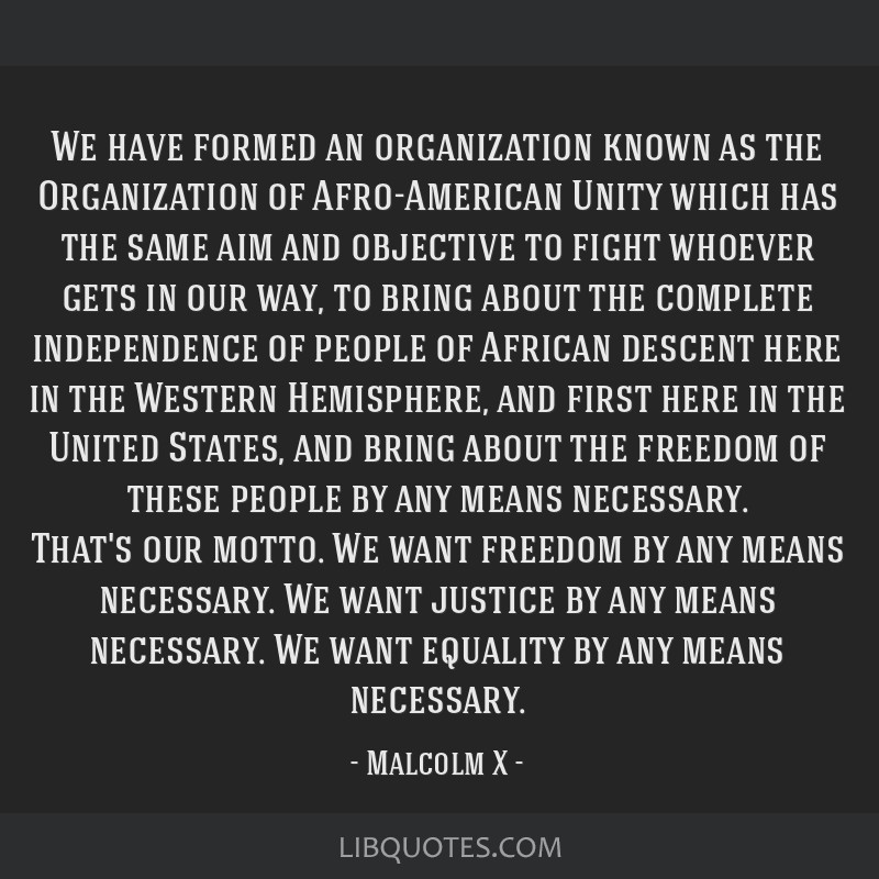 We have formed an organization known as the Organization of Afro-American Unity which has the same aim and objective to fight whoever gets in our...