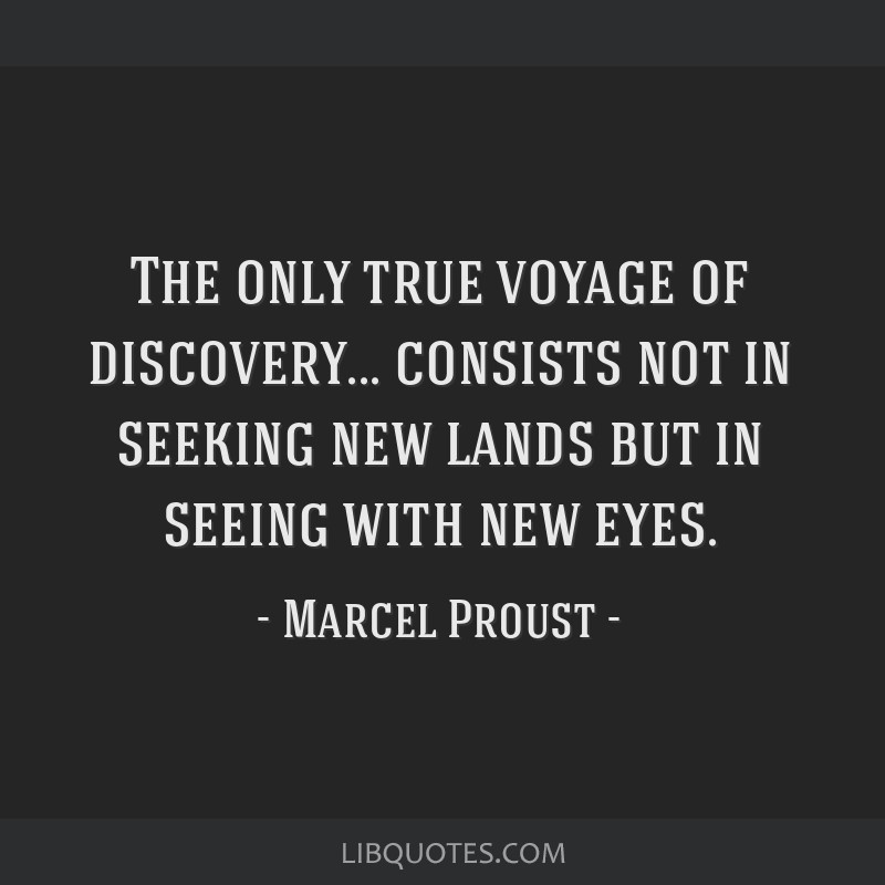 The only true voyage of discovery... consists not in seeking new lands but in seeing with new eyes.
