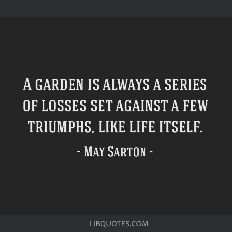 A garden is always a series of losses set against a few triumphs, like life itself.