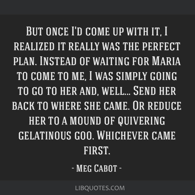 But once I'd come up with it, I realized it really was the perfect plan. Instead of waiting for Maria to come to me, I was simply going to go to her...