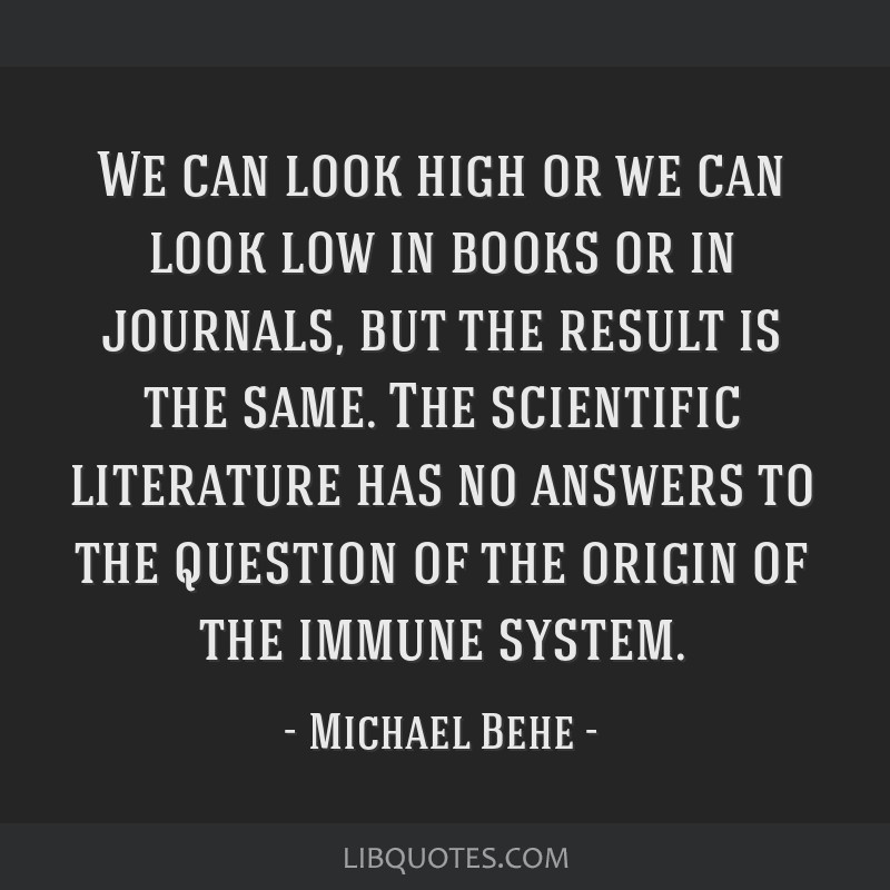 We can look high or we can look low in books or in journals, but the result is the same. The scientific literature has no answers to the question of...