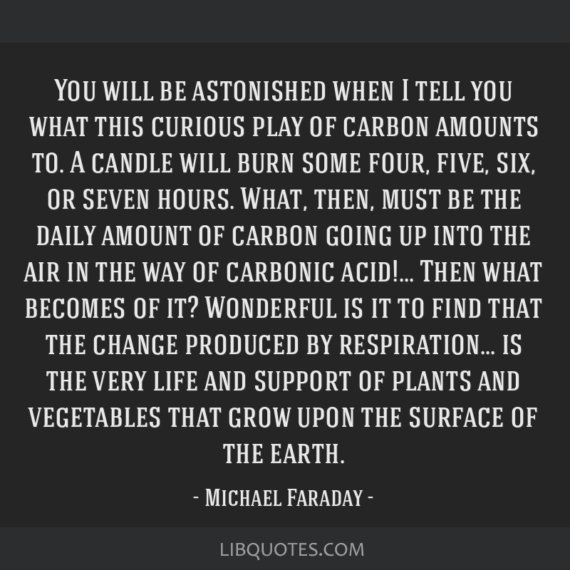 You will be astonished when I tell you what this curious play of carbon amounts to. A candle will burn some four, five, six, or seven hours. What,...