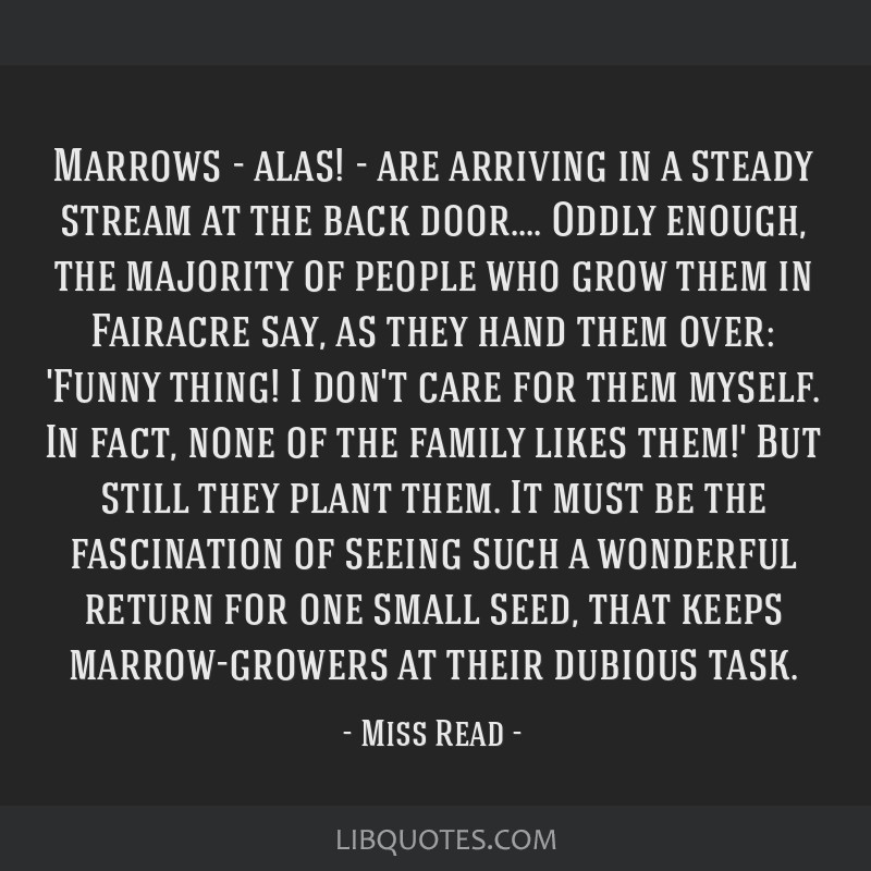 Marrows - alas! - are arriving in a steady stream at the back door.... Oddly enough, the majority of people who grow them in Fairacre say, as they...