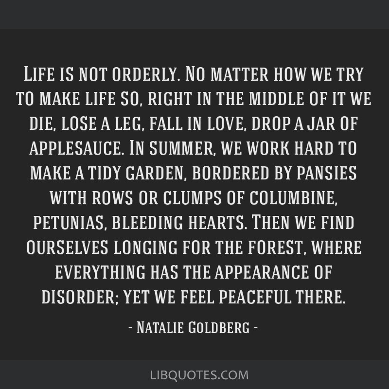 Life is not orderly. No matter how we try to make life so, right in the middle of it we die, lose a leg, fall in love, drop a jar of applesauce. In...