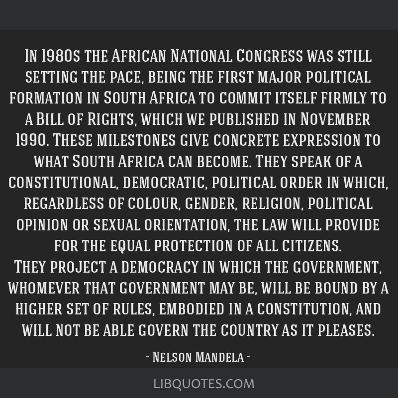 In 1980s the African National Congress was still setting the pace, being the first major political formation in South Africa to commit itself firmly...