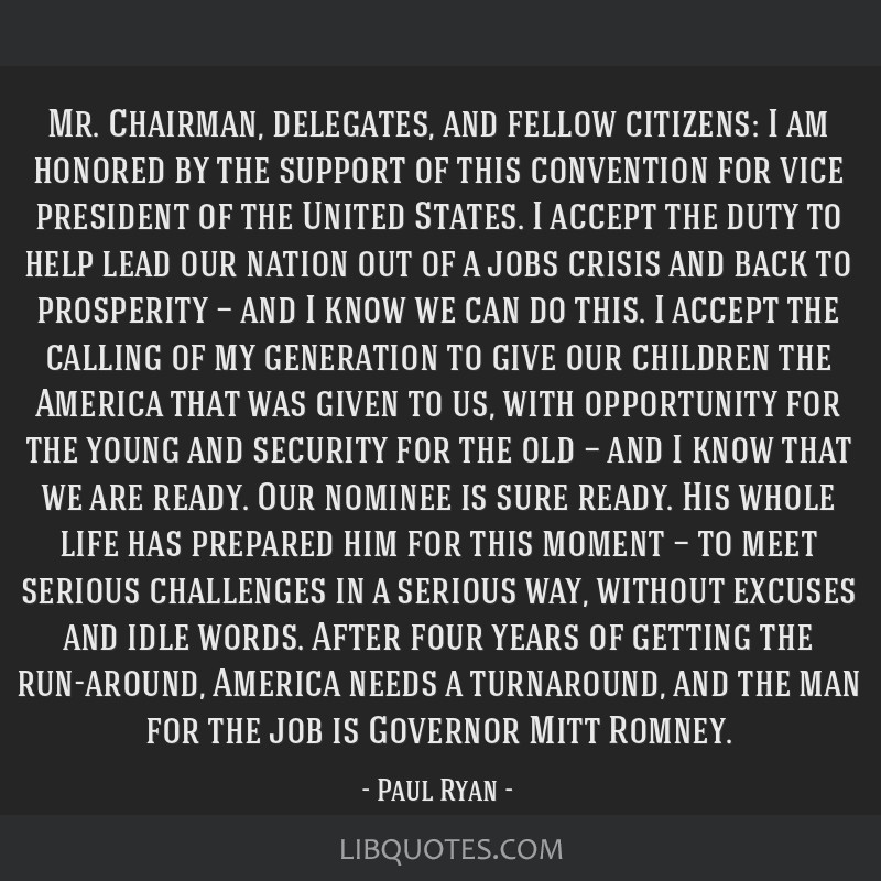 Mr. Chairman, delegates, and fellow citizens: I am honored by the support of this convention for vice president of the United States. I accept the...