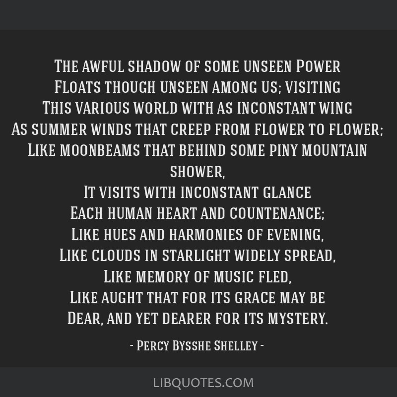 The awful shadow of some unseen Power Floats though unseen among us; visiting This various world with as inconstant wing As summer winds that creep...