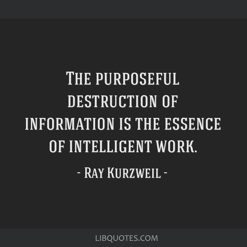 The purposeful destruction of information is the essence of intelligent work.