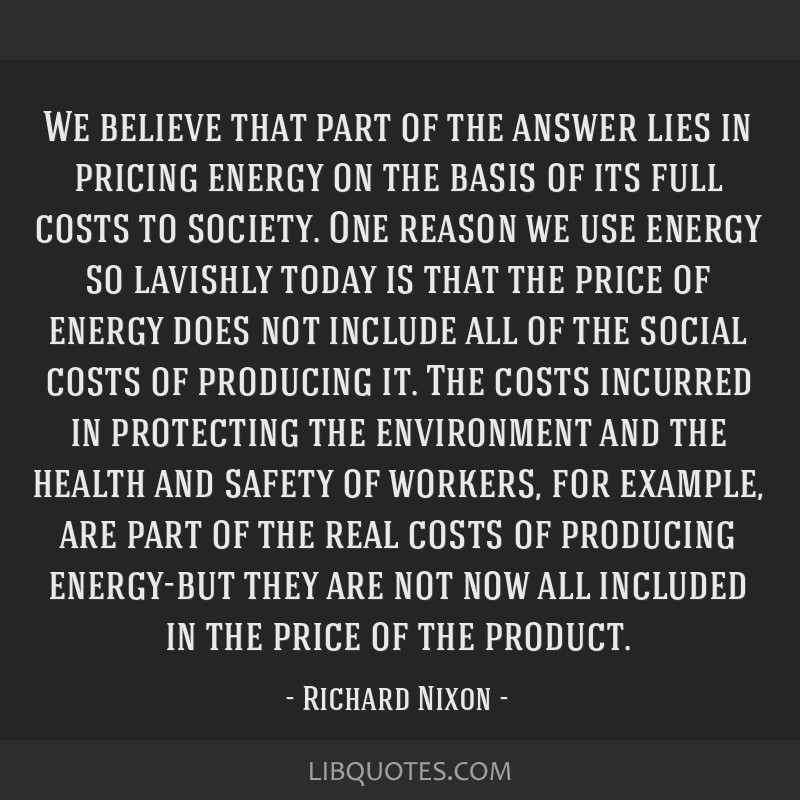 We believe that part of the answer lies in pricing energy on the basis of its full costs to society. One reason we use energy so lavishly today is...