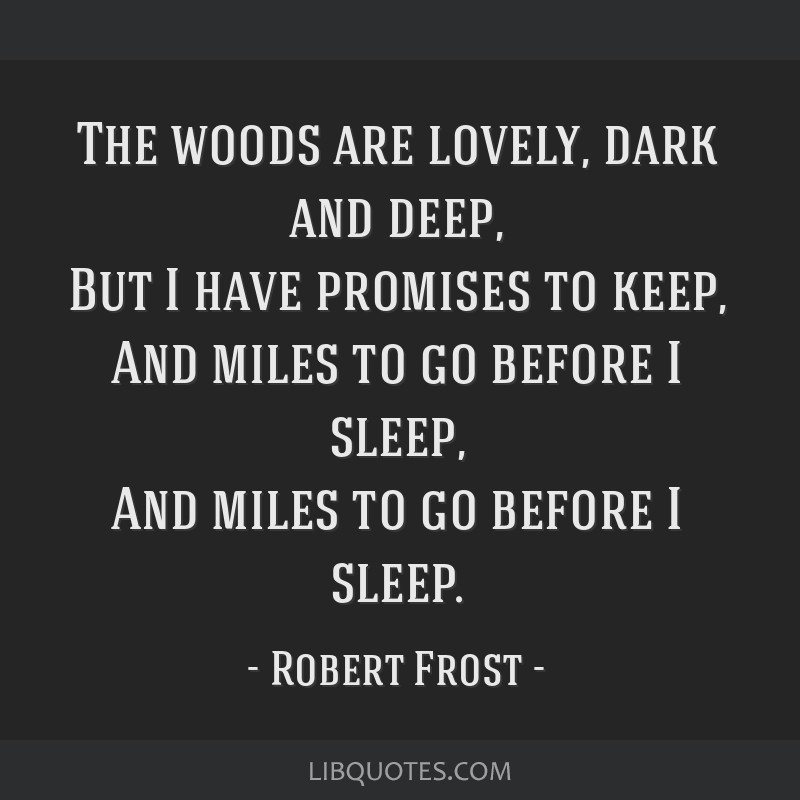 The woods are lovely, dark and deep, But I have promises to keep, And miles to go before I sleep, And miles to go before I sleep.