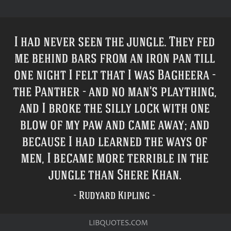 I had never seen the jungle. They fed me behind bars from an iron pan till one night I felt that I was Bagheera - the Panther - and no man's...