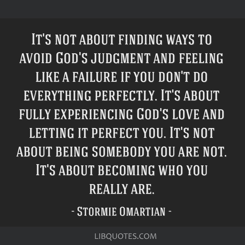 It's not about finding ways to avoid God's judgment and feeling like a failure if you don't do everything perfectly. It's about fully experiencing...
