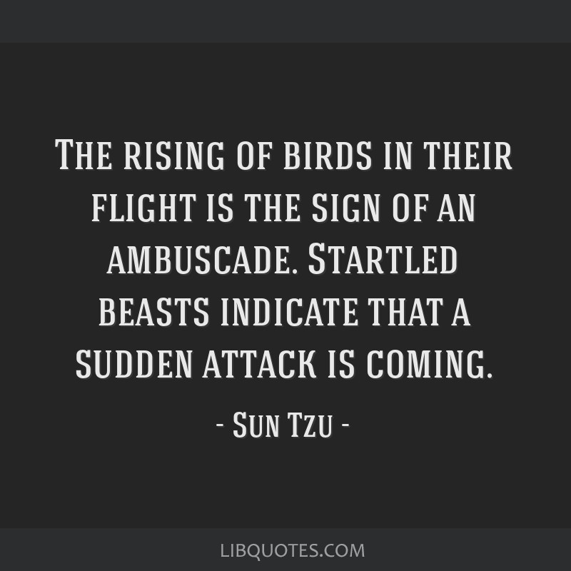 The rising of birds in their flight is the sign of an ambuscade. Startled beasts indicate that a sudden attack is coming.