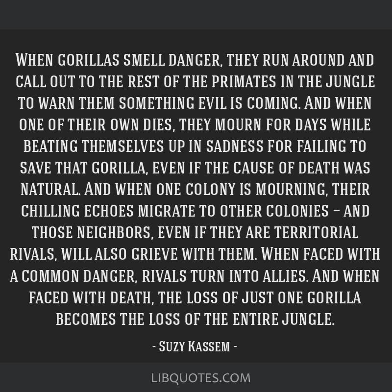 When gorillas smell danger, they run around and call out to the rest of the primates in the jungle to warn them something evil is coming. And when...