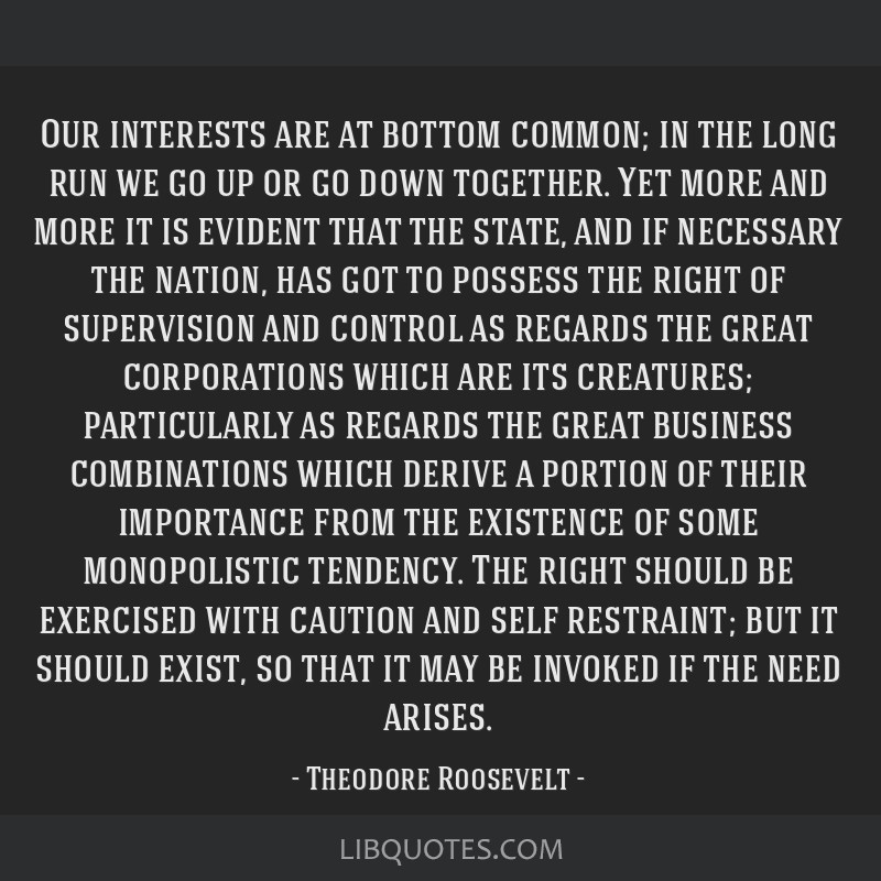 Our interests are at bottom common; in the long run we go up or go down together. Yet more and more it is evident that the state, and if necessary...