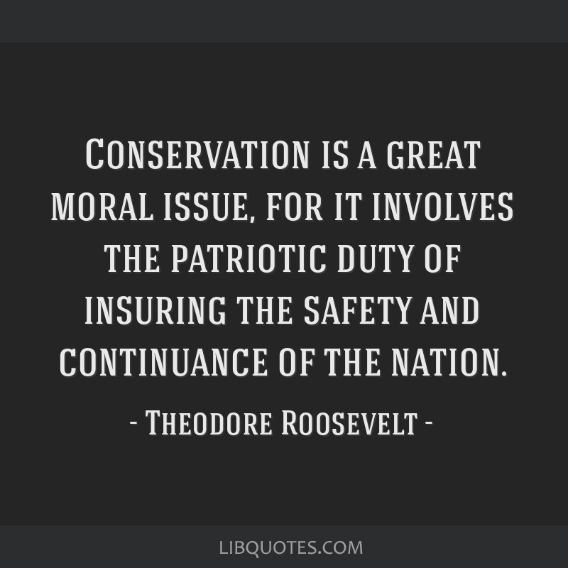 Conservation is a great moral issue, for it involves the patriotic duty of insuring the safety and continuance of the nation.