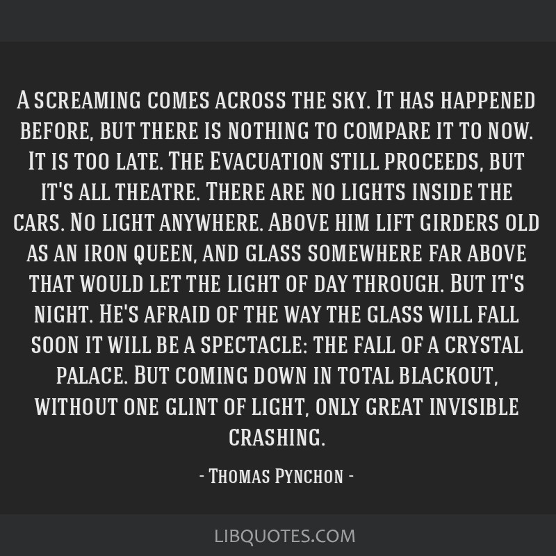 A screaming comes across the sky. It has happened before, but there is nothing to compare it to now. It is too late. The Evacuation still proceeds,...