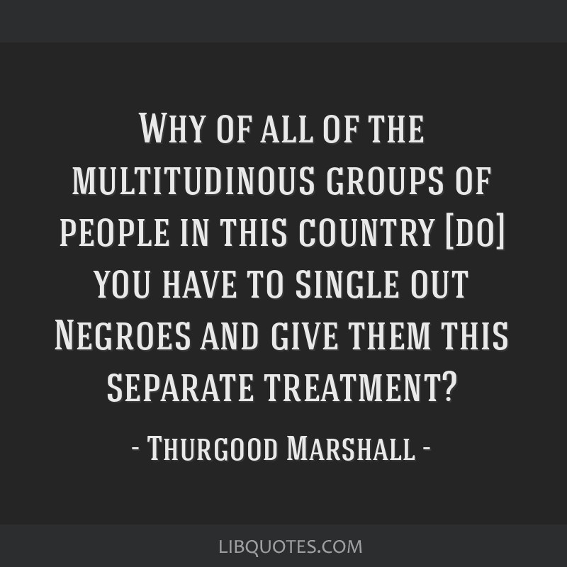 Why of all of the multitudinous groups of people in this country [do] you have to single out Negroes and give them this separate treatment?