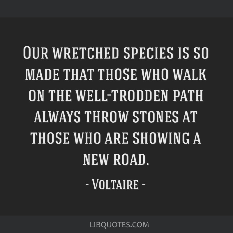 Our wretched species is so made that those who walk on the well-trodden path always throw stones at those who are showing a new road.