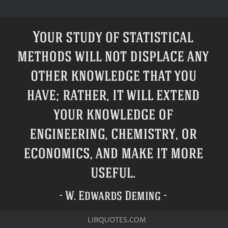 Your study of statistical methods will not displace any other knowledge that you have; rather, it will extend your knowledge of engineering,...