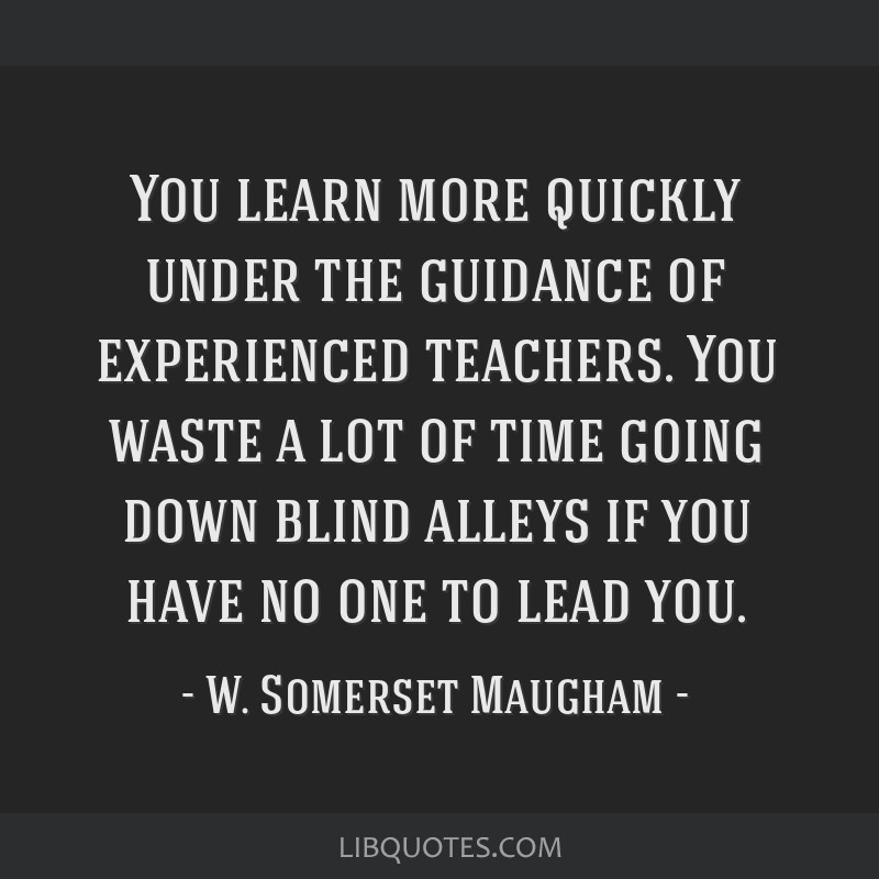You learn more quickly under the guidance of experienced teachers. You waste a lot of time going down blind alleys if you have no one to lead you.