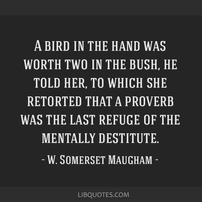 A bird in the hand was worth two in the bush, he told her, to which she retorted that a proverb was the last refuge of the mentally destitute.