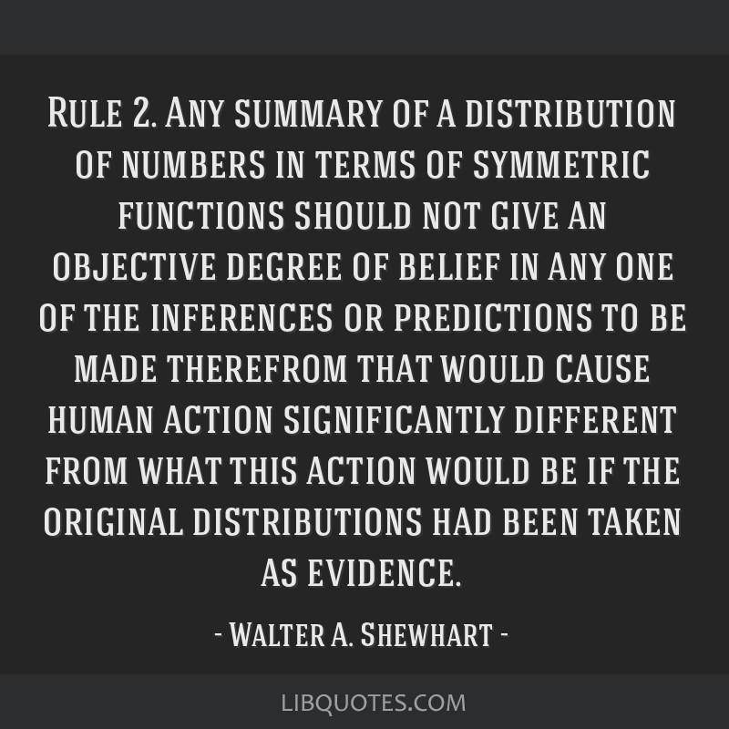 Rule 2. Any summary of a distribution of numbers in terms of symmetric functions should not give an objective degree of belief in any one of the...