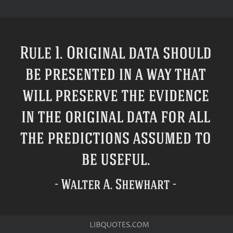 Rule 1. Original data should be presented in a way that will preserve the evidence in the original data for all the predictions assumed to be useful.
