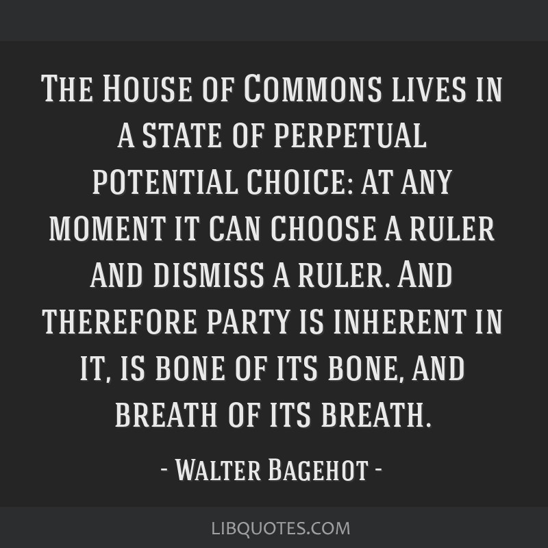 The House of Commons lives in a state of perpetual potential choice: at any moment it can choose a ruler and dismiss a ruler. And therefore party is...