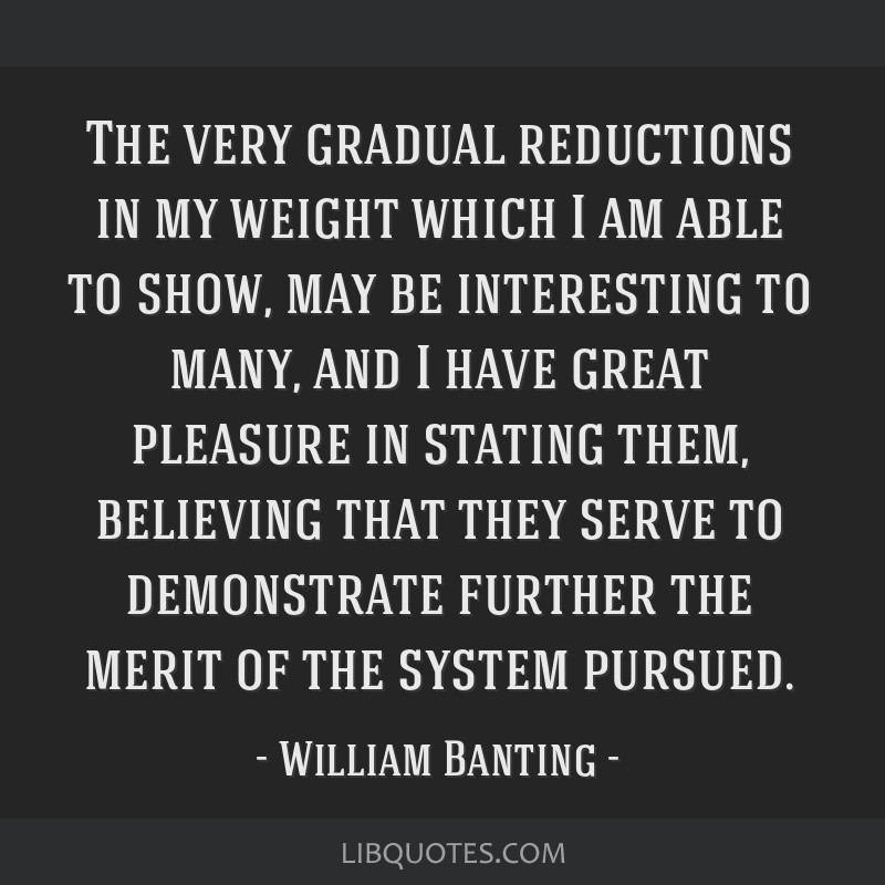 The very gradual reductions in my weight which I am able to show, may be interesting to many, and I have great pleasure in stating them, believing...