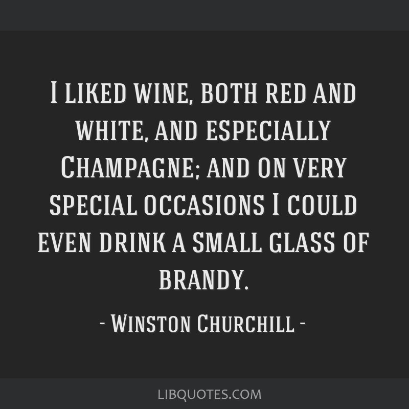 I liked wine, both red and white, and especially Champagne; and on very special occasions I could even drink a small glass of brandy.